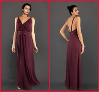 Model Pictures Sleeveless V-Neck 2013 New Floor Length Dark Wine Chiffon V-Neck Sheath Greek Goddess Cheap Party Bridesmaid Dresses