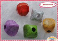 Wholesale MM Mixed Acrylic Irregular Square Beads with Lines
