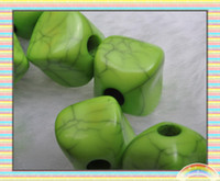Wholesale MM Green Acrylic Irregular Square Beads with Lines