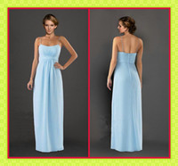 2013 New Light Blue Chiffon Bridal Party Dress Long Spaghett...