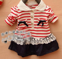 Wholesale 2013NEW girls T shirt koran lapel stripe with lace pockets red blue