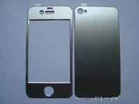 Wholesale New Aluminum Metal Full Body Sticker Cover Skin Front and Back Brushed Protector For iphone S EMS