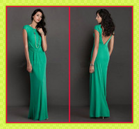 Model Pictures Floor-Length Chiffon 2013 New Design Greek Goddess Green Sheath Gowns Bateau Cap Sleeve Sexy V-back Long Party Dresses