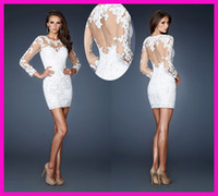 Wholesale 2013 Mini Lace Long Sleeves Prom Cocktail Dress Dresses E2491