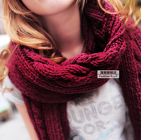 Wholesale Korean fashion knitted scarf winter scarf women girl scarves colros