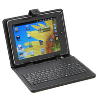 Wholesale New Leather case with usb keyboard bracket Stylus for inch Android Apad epad Tablet PC C1250