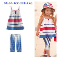 Christmas Girl 0-5 year old  baby girls clothes suit kids children's striped sling tops vest + pants 2pcs set girls clothes 5 set