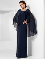 Wholesale Classic Dark Navy Sheath Column Scoop Ruched Taffeta Beads Bolero Jacket Mother of the Bride Dress