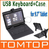 Wholesale Leather case with usb keyboard bracket for quot inch tablet PC android Tablet Netbook C1376