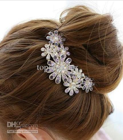 bridal hair accessories women luxury crystal rhinestone flower hair