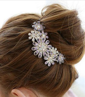 Wholesale Bridal Hair Accessories Women Luxury Crystal Rhinestone Flower Hair Clips Headwear CL T1