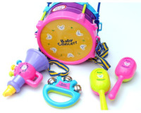 Wholesale baby Concert Musical Instrument Set Happy Drum Shaker rattles horn Puzzle Development kids Toys