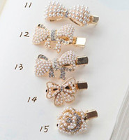 Wholesale Korea cute little bow flowers pearl crystal hairpin hair accessories