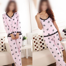 Wholesale Summer female pajamas pajama set for Women Lady home wear Flower W1324