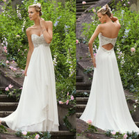 Wholesale 2013 Designer Empire Blingbling Crystals Waist Beaded Lace Appliques Chiffon Sexy Wedding Dresses