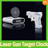 Wholesale Novelty LCD Laser Gun Shooting Target Wake UP Alarm Desk Clock Gadget Fun Toy