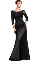 Wholesale Black Lace Sleeves Mother Of The Bride Evening Dresses Mermaid Off The Shoulder Beaded Neckline Ruched Satin Sheer Sleeves Floor length