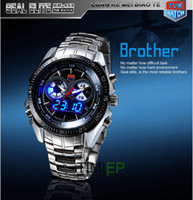 Wholesale Hight Quality Stainless Steel Black Men s Clock Fashion Blue Binary LED Pointer Watch Mens AM Wate