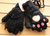 Wholesale 2013 new Full finger the Bear claw gloves winter warm men and women plush cartoon gloves