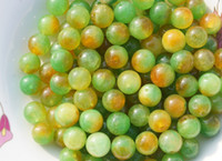 Wholesale Green yellow red jade handmade beads a diameter of about mm to a pack