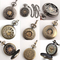 Wholesale 15pc Mixture Design Men Half Hunter Skeleton Fob Chain Watches Classic Antique Mechanic Pocket Watch