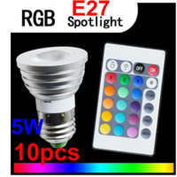 Wholesale Festivt lighting W E27 Multi Color Change RGB LED Light Bulb Lamp Remote battery V V V