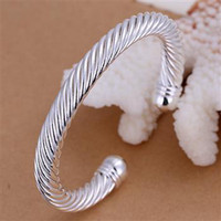 Wholesale Sterling silver g Twist rope bangles jewelry fashion B030