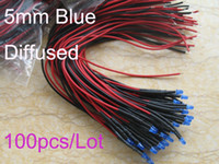 Wholesale 100pcs mm Blue Diffused Bright V V DC Pre Wired LED Leds CM