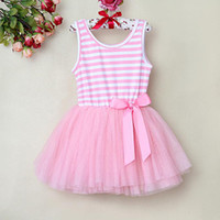 summer clothes for girls - 2015 New Baby Girl Summer Dress Pink Lace and Stripe Printed For Kids Lovely Princess Party Dress baby clothes