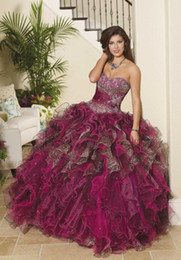 Wholesale 2013 Sex Sweetheart Organza Ball Gown Applique Beaded Ruffles Leopard Quinceanera Dresses