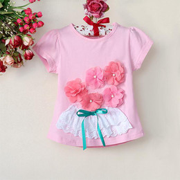 Summer Fashion Girl Tee Shirt Pink Short Sleeve Tops With Flower Decoration Cute Kids Clothes 5pcs lot