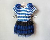 Wholesale 1226005 BD Girl Lace Strips Short Dress Years Kids O neck Shoulder Board