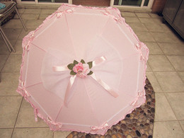 Wholesale The Lolita Pink Straight Umbrella Bows Princess The Wedding Umbrella Maid Umbrella EMS