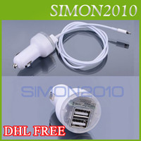 Wholesale 2 in Car Charger USB Ports amp Pin Data Sync Cable Cord for iPhone5 iphone G iPod Nano7