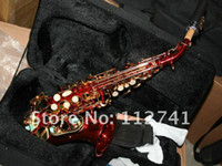 Wholesale New Arrival RED Soprano Saxophone curved neck Beauty Sax with case