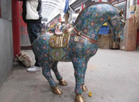 Wholesale 39INCH Chinese Regius Palace Pure Bronze cloisonne Lucky Tang Horse Statue