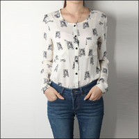 Wholesale 2013 New Arrival Fashion Blouse Round Neck Long Sleeve Tiger Prints Blouse Spring Leisure Blouse