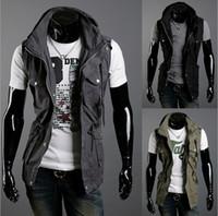 Wholesale Double Collar Stylish Vests top Men s Multi pocket Slim Casual Jackett Vests M XXL