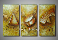 One Panel Oil Painting Fashion 100% handmade modern 3 panel abstract music paintings wall art canvas com3336