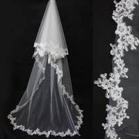 Wholesale White Ivory Classical Elegant Chapel Wedding Bridal Veil Lace Edge Long Train