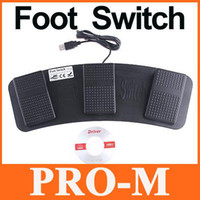 Wholesale USB Foot Control Keyboard Mouse Action Three Switch Pedal HID Free Shippping Drop Shipping