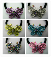 Wholesale Crystal Little Buttefly Hair Rubber Bands Fashion Hair Bands Hot Sale Jewelry Mix Color