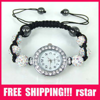 Wholesale Luxury Women s Watches lady shamballa Bracelets Watch Jewelry Alloy Beads Disco Ball Macrame BM1