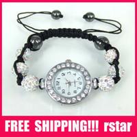 Wholesale Luxury Women s Watches lady shamballa Bracelets Watch Jewelry Alloy Beads Disco Ball Macrame BM1