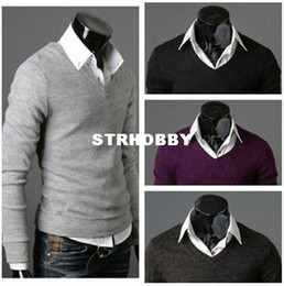 Wholesale Mens Stylish Slim Fit Elastic V neck Sweater Jumper Top Cardigan Knitwear MF