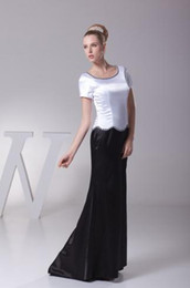 Wholesale Modern Modest Black White and Black Bead A Line Long Elastic Satin Pleat Mother of the Bride Dresses