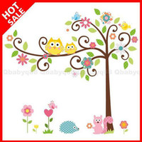 Wholesale Owl scroll tree Hoot Wall decals Removable stickers decor art kids nursery room