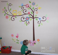 Wholesale A NEW Baby Lovely Owls Tree Flower Wall Sticker Decor Decal Arty Kids Nursery