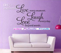Wholesale LIVE WELL LAUGH OFTEN LOVE MUCH Vinyl Wall Decal Sticker Word Art Saying NEW