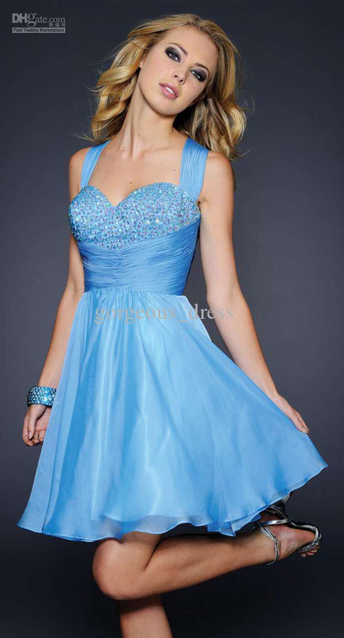 Ice blue cocktail dress